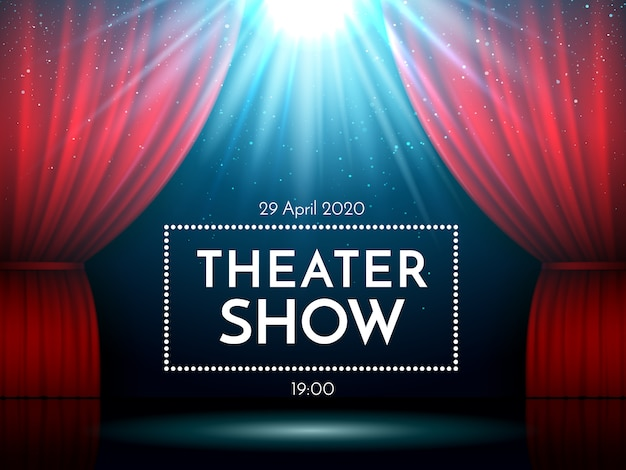 Abra cortinas vermelhas no palco iluminado por holofotes. teatro dramático ou cena de show de ópera.