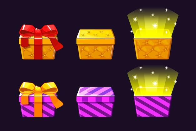 Abra e feche a caixa de presente colorida. ícones de presentes laranja e violeta.