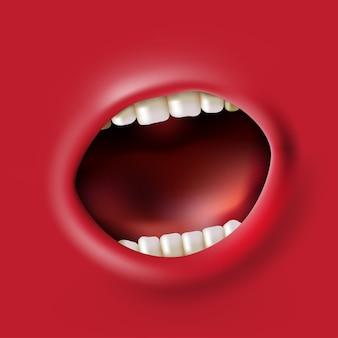 Abra fundo de boca vermelha gritando