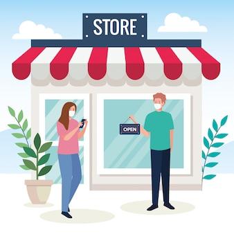 Abra novamente depois da quarentena, casal com etiqueta de reabertura da loja, estamos abertos novamente, fachada da loja da loja
