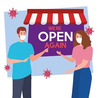 Abra novamente depois da quarentena, reabrindo da loja, casal com rótulo de estamos abertos novamente