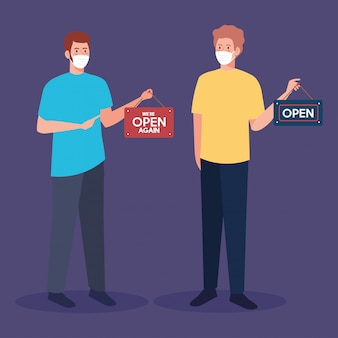 Abra novamente depois da quarentena, reabrindo da loja, homens com etiqueta de nós estamos abertos novamente