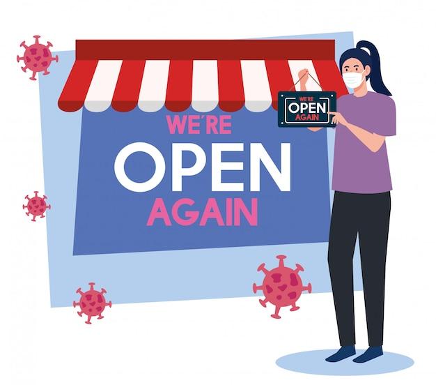 Abra novamente depois da quarentena, reabrindo da loja, mulher com etiqueta de nós estamos abertos novamente