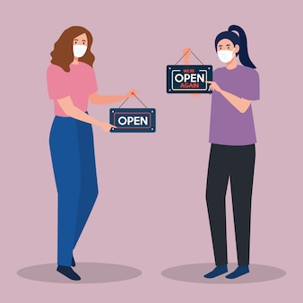 Abra novamente depois da quarentena, reabrindo da loja, mulheres com etiqueta de nós estamos abertos novamente