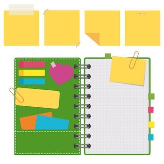 Abra o bloco de notas com folhas em branco em uma espiral com marcadores entre as páginas.