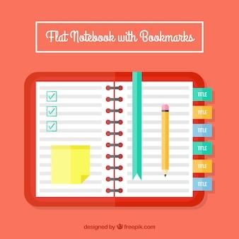 Abra o caderno com elementos de design plano