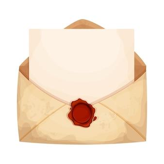 Abra o envelope da carta com papel vazio e selo de cera vermelha em estilo cartoon