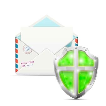 Abra o envelope protegido pelo escudo.
