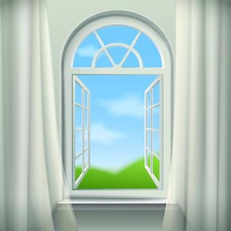 Abra o fundo da janela em arco