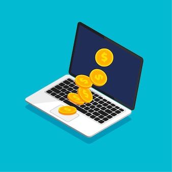 Abra o laptop com uma pilha de moedas em um estilo isométrico moderno