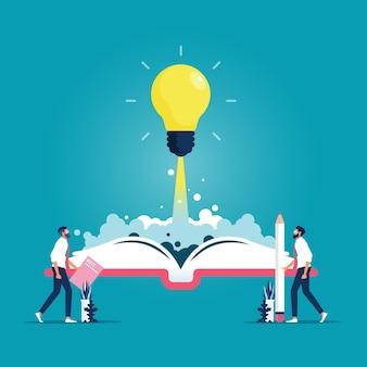Abra o livro com a lâmpada brilhante do foguete voando para fora inspiração da ideia
