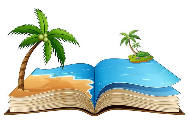 Abra o livro com a praia tropical em um fundo branco