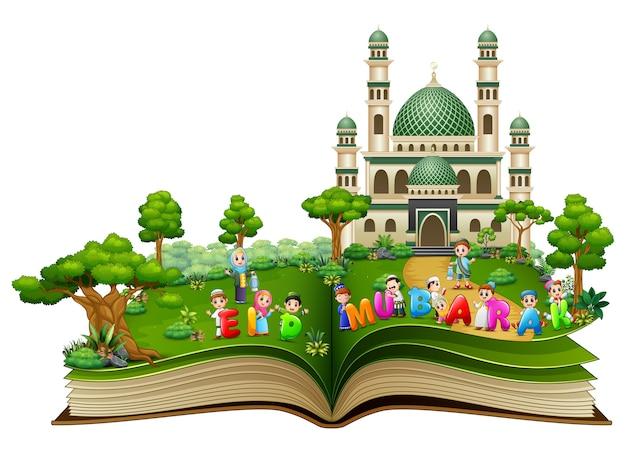 Abra o livro com crianças islâmicas felizes e texto colorido