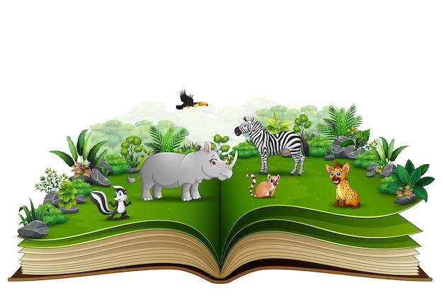 Abra o livro com desenhos animados animais brincando no parque