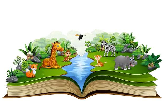 Abra o livro com desenhos animados animais jogando no rio