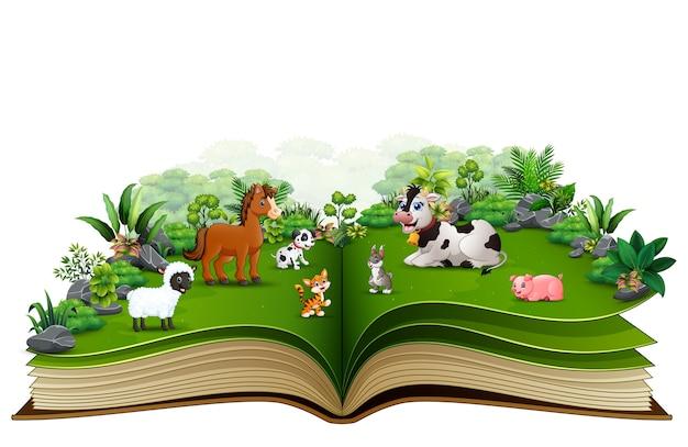 Abra o livro com desenhos animados da fazenda animal no parque