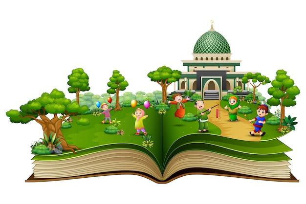 Abra o livro com feliz família muçulmana na frente de uma mesquita