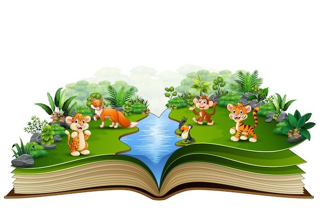 Abra o livro com o desenho animado animal jogando no rio