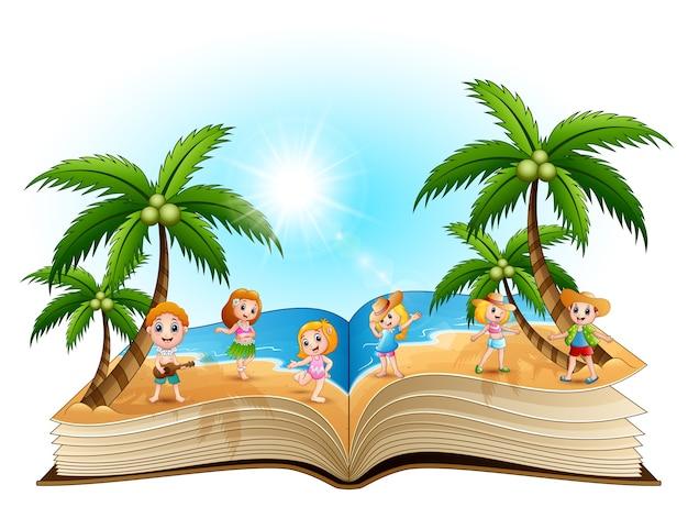 Abra o livro com o grupo de crianças felizes na praia