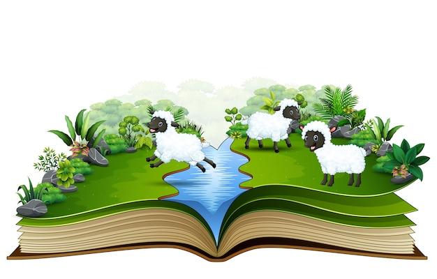 Abra o livro com o grupo de ovelhas brincando no rio
