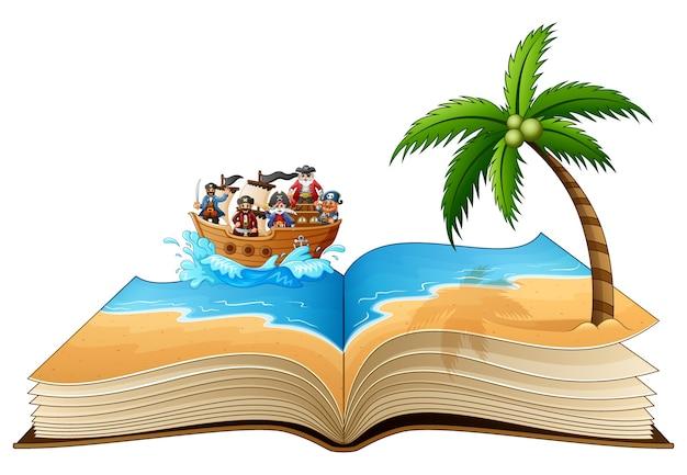 Abra o livro com o grupo de pirata na praia