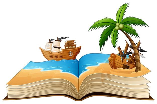 Abra o livro com o navio pirata na praia