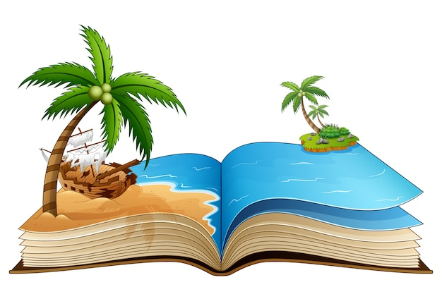 Abra o livro com o navio pirata quebrado na praia