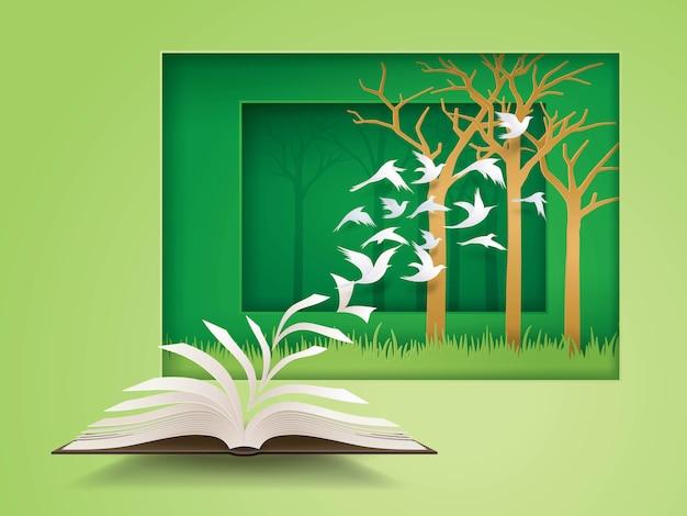 Abra o livro com o pássaro voando dele