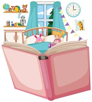 Abra o livro com o tema do quarto