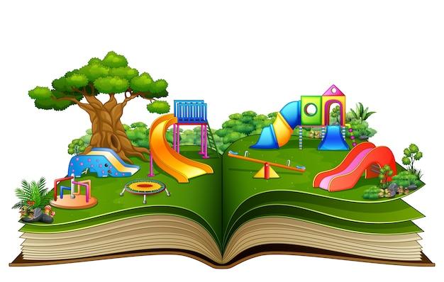 Abra o livro com parque infantil em um fundo branco