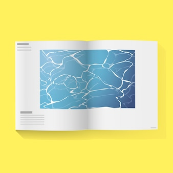 Abra o livro da revista com água na página do meio