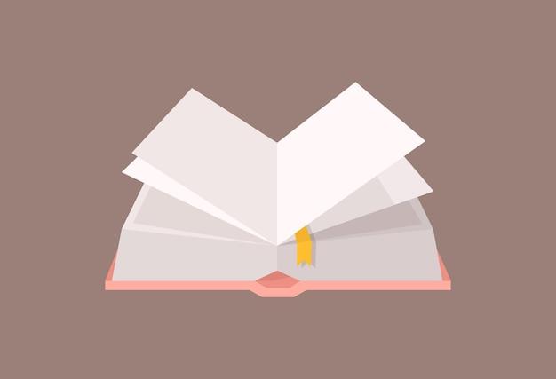 Abra o livro de capa dura com marcador. livro de capa dura para educação e estudos acadêmicos, literatura de ficção. elemento de design decorativo isolado no fundo branco. ilustração em vetor plana dos desenhos animados.