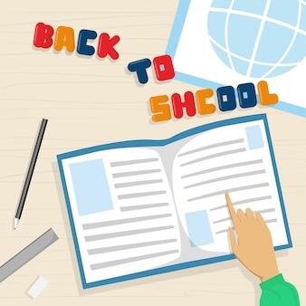 Abra o livro de nota de volta ao banner de educação escolar