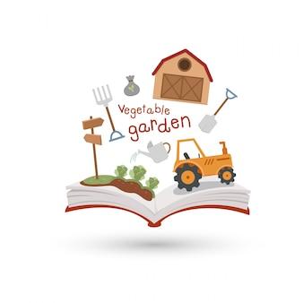 Abra o livro e ícones da horta