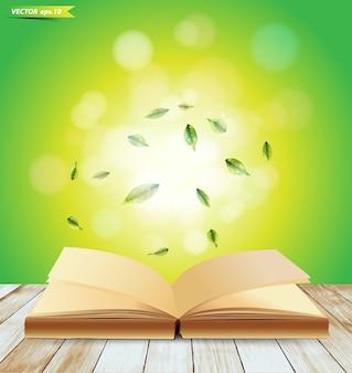 Abra o livro em pranchas de madeira