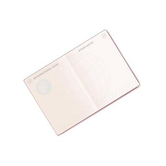 Abra o passaporte internacional com a página em branco do carimbo de visto