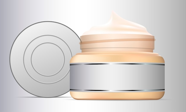 Abra o recipiente de vidro do frasco de creme. produto de beleza
