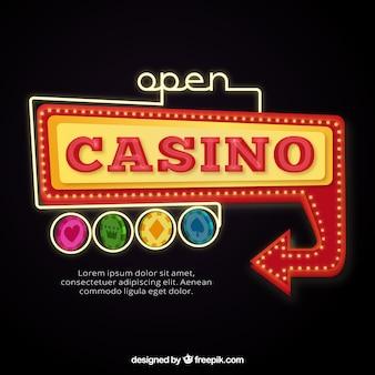 Abra o sinal do casino backgroun