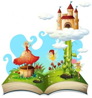 Abra o tema de conto de fadas de livro