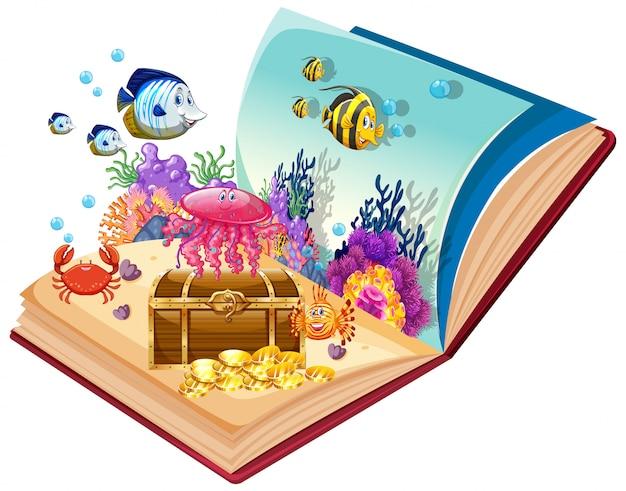 Abra o tema subaquático de livro