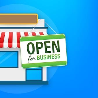 Abra para sinal de negócios. design plano para negócios, marketing financeiro, banco anúncio, escritório, pessoas, vida, propriedade, estoque, fundo, comercial, experiência, mínimo, conceito, cartoon, illustration.