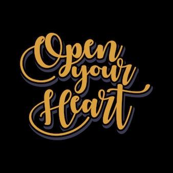 Abra seu coração lettering typography quote