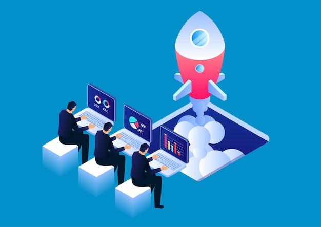Abra um novo negócio, três empresários sentados e trabalhando para iniciar uma ilustração de estoque de foguetes