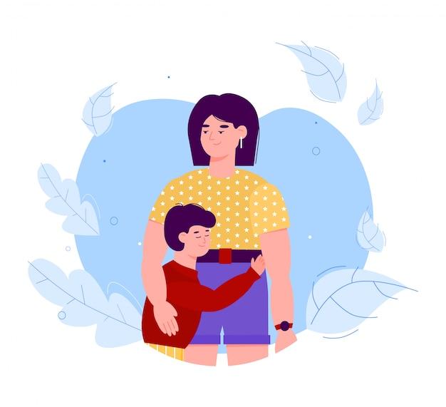 Abraçando a ilustração plana de personagens de desenhos animados de mãe e filho isolada.