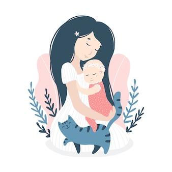 Abraçando a mãe com uma filha bebê com um gato em flores de verão, margaridas. ilustração infantil de bonito dos desenhos animados no estilo simples desenhados à mão em uma paleta pastel.