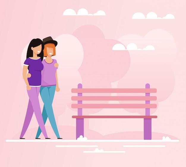 Abraçando amantes lésbicas andando no parque dos desenhos animados