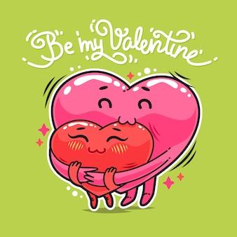Abraçando corações dos namorados