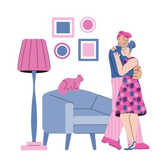 Abraçando o casal para cartão de dia dos namorados, ilustração dos desenhos animados