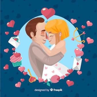 Abraçando o fundo do dia dos namorados casal