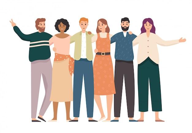 Abraçando o retrato de grupo de amigos. alunos felizes, amigos de escola adolescentes juntos e ilustração de amizade